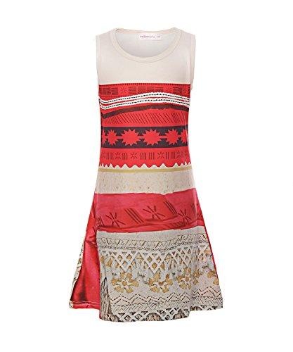 ReliBeauty Mädchen Kleid Prinzessin Vaiana Digitaldruck Muster Armlos Rundausschnitt Moana Kostüme, Rot, 104(Etikett (Muster Kostüme Disney)