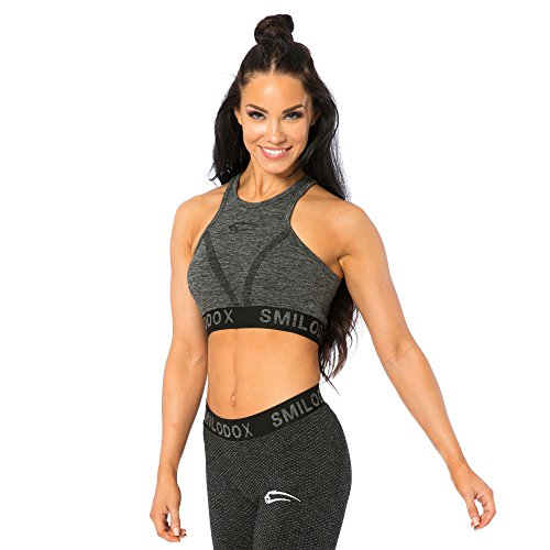 SMILODOX Seamless Sport-BH Damen | Fitness-BH ohne Bügel | Starker halt im Training - Bustier ideal für Yoga Gym Fitness & Workout - Soft Büstenhalter - Sports Bra Anthrazit