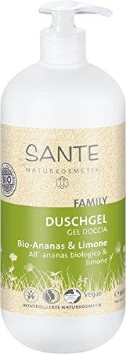 SANTE Naturkosmetik Duschgel Bio Ananas und Limone Familiengröße mit Pumpspender, Vegan, 950 ml
