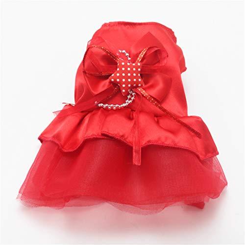 PZSSXDZW Welpenrock Mini-Hundekleidung Hochzeitskleid Pet Rock Kleidung für Hunde Red XX-Small