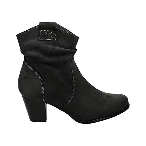 Damen Stiefeletten Cowboy Western Stiefel Boots Schlupfstiefel Blockabsatz Schuhe 65 Grau