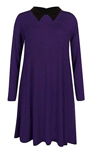 Fashion Essentials-woman Peter Pan Langarm-Swing-Kleid Midi-Kragen-Skater Purple