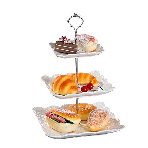 3-tier-dessert-stand (ZZH 3-Tier Dessert Stand Gebäckständer Kuchenständer Cupcake Stand Mit Krone Form Griff Für Party Hochzeit Home Decor, Silber)