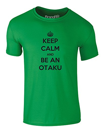 Brand88 - Keep Calm and be an Otaku, Erwachsene Gedrucktes T-Shirt Grün/Schwarz