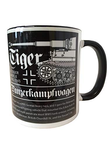 The Wooden Model Company Ltd Tasse mit Motiv aus dem 2. Weltkrieg, Deutscher Tiger-Panzer, weiß (Ww2 Deutsch Hat)