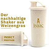 Protein Shaker von isaac nutrition, nachhaltig hergestellt aus Weizengras, biologisch abbaubar, BPA frei, Eiweiß Shaker der Zukunft, 400 ml