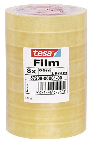 tesafilm Klebeband, Großrollen, Standard, 8 Rollen, 66m x 19mm