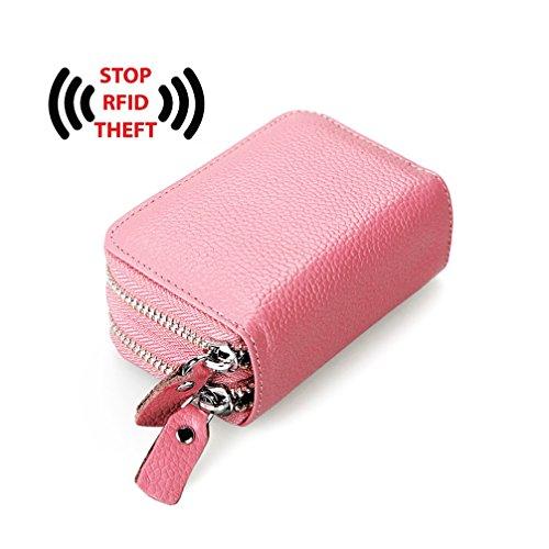 Frauen echtes Leder Wallet Zipper Geldbörse RFID Blocking Card Pack Blue Pink