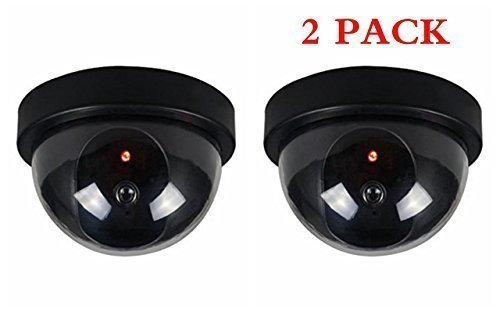 Baskety (2 Piece )indoor Outdoor Dome Camera Dummy Fake Security CCTV Dome Camera with Flashing Red LED Light, Blink Every Other Second  available at amazon for Rs.298