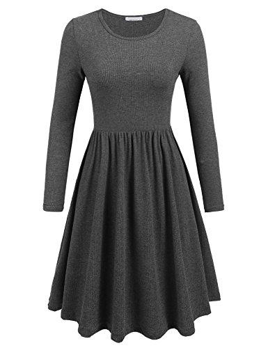 Groß Kleid Stiefel (Parabler Damen Kleider Jerseykleid Empire Langarmkleid Tailliert Rundhals Skater Kleid A-Linie Freizeitkleid)
