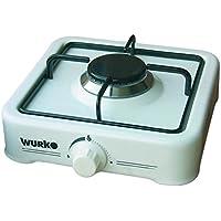 Wurko 027030 - Cocina de gas, 1 fuego, color blanco esmaltado