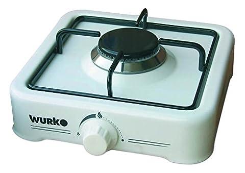 wurko 027030–Cuisinière à gaz, 1feu, blanc émaillé