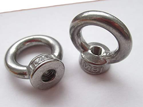 6x M6 Ringmutter/Ösenmutter - V2A Rostfreier Stahl - 15mm Öffnung, 8mm M6 Gewinde, Gesamthöhe 29,5mm, Breite 22mm - Kranöse/Ringöse - Industrie Qualität Öse Zurröse