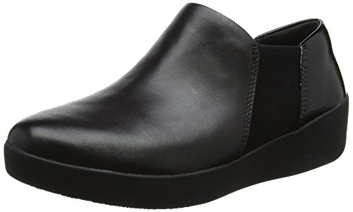 FitFlop Damen Superchelsea Slip-Ons Pumps, Black (Black/Black Patent), 38 EU (Leder-booties Patent)
