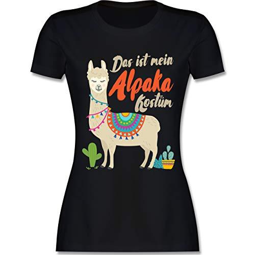 Karneval & Fasching - Das ist Mein Alpaka Kostüm - M - Schwarz - L191 - Damen Tshirt und Frauen - Schwarz Lama Kostüm