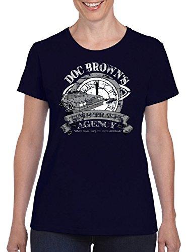TSP Doc Browns Time Travel Damen T-Shirt S Dunkelblau (Doc Band Halloween Kostüme)
