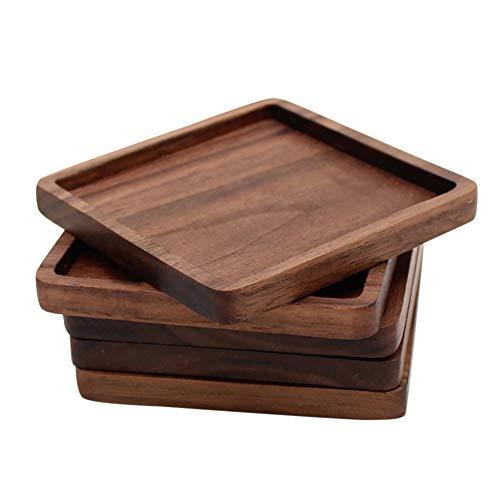 Homeofying Runde Quadratische Vintage Retro schwarz Walnuss Holz Isolierung Tasse Untersetzer Untersetzer Untersetzer Pad für Esstisch