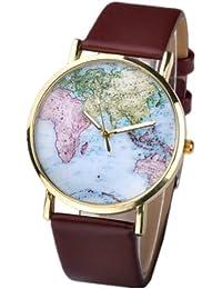 Better Dealz Retro Weltkarte Uhr Lederausstattung Leichtmetall Damen Analoge Quarz Armbanduhr,Kaffee