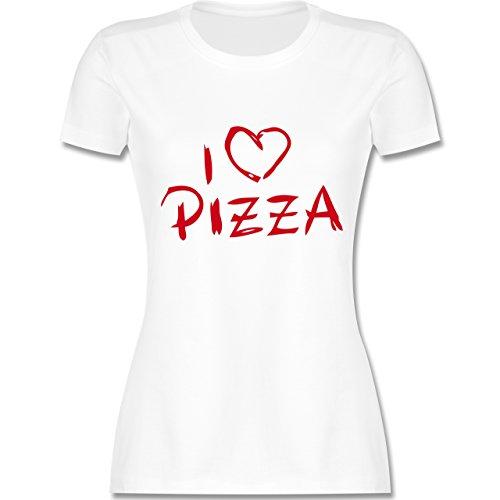Küche - I Love Pizza - tailliertes Premium T-Shirt mit Rundhalsausschnitt für Damen Weiß