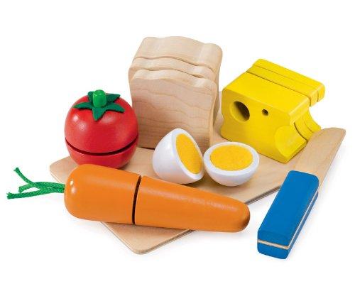 Selecta Spielzeug 1548 - Picknick, Set aus Holz zum schneiden üben und Sandwich bauen