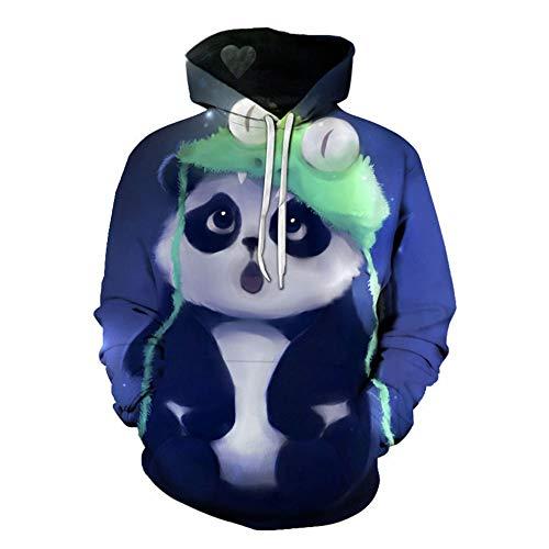 Kostüm Cartoon Panda - Unisex 3D Panda Cartoon Hoodie Halloween Herbst Winter Pullover Langarm Sweatshirt,Grün,XXXL