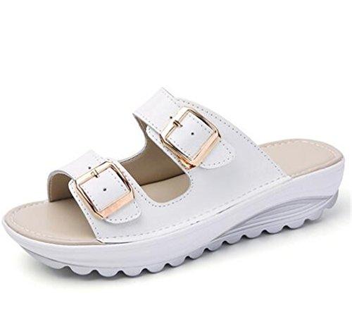 Boowhol Damen Lederschuhe Komfort Sandalen Sommer Flache Strandsandalen Flip-flops Weiß