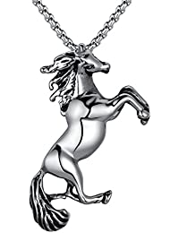 Stainless Steel Leaping Horse Pendant Necklace with 3.5mm Round Link Chain (Black and Silver Color) G2025QY