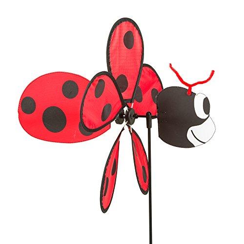 HQ Windspiration 100754 Spin Critter Ladybug, UV-beständiges und wetterfestes Windspiel, inklusive Standstab, Ladybug, Höhe: 65 cm, Tiefe: 32 cm, Ø: 30 cm