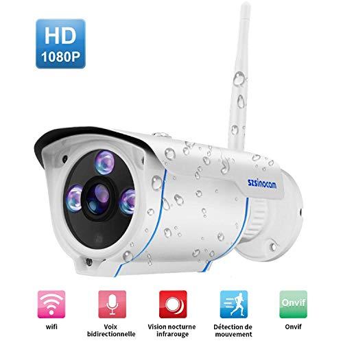 1080P Überwachungskamera Aussen,szsinocam IP66 Wasserdicht Outdoor IP Kamera/Zwei-Weg Audio Nachtsicht, Full HD Bewegungserkennung, Email-Alarm,Wireless IP Kamera mit IOS/Android/Tablets/Windows PC (Iphone-security-kamera, Wireless)