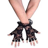 Newin Star 1 Par Mujeres Guantes de Encaje sin Dedos Guantes Guantes Traje Color de Rosa Modelo Partido gótico para la Navidad de Accesorios de Halloween (Negro)