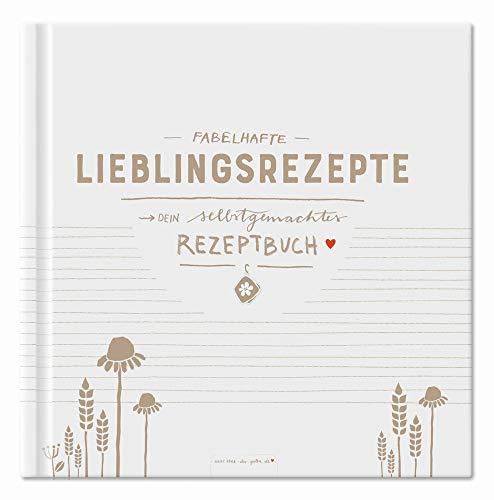 Rezeptbuch zum Selberschreiben, Kochbuch selbst schreiben für 80 fabelhafte Lieblingsrezepte, Freundliches Design in Weiß Beige, Premium Hardcover, robuste Fadenbindung, 21x21 cm