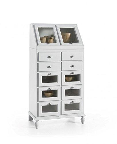 Legno&Design Dispense Bois Art Pauvre Buffet laqué Blanc 10 tiroirs 2 abattants