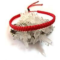 Bracelet brésilien/amitié/kabbalah/bohème/En fil Rouge tissé/tressé main en macramé forme spirale avec du fil ciré et ajustable