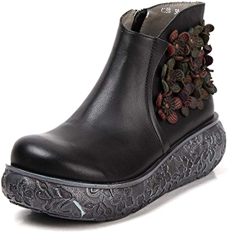 SERAPH Bottines compensées en cuir pour femmes à Fleurs plateforme compensée Fleurs à Bottes Martin rétro WA6038 6cb727
