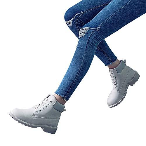 TianWlio Stiefel Frauen Herbst Winter Schuhe Stiefeletten Boots Mode Retro Solide Knöchel Dicke Schnürstiefel Runde Kappe Freizeit Schuhe Grau 38