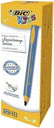 BIC Kids Crayons à Papier d'Apprentissage Triangulaires Extra-Larges HB - Bleu, Boîte d