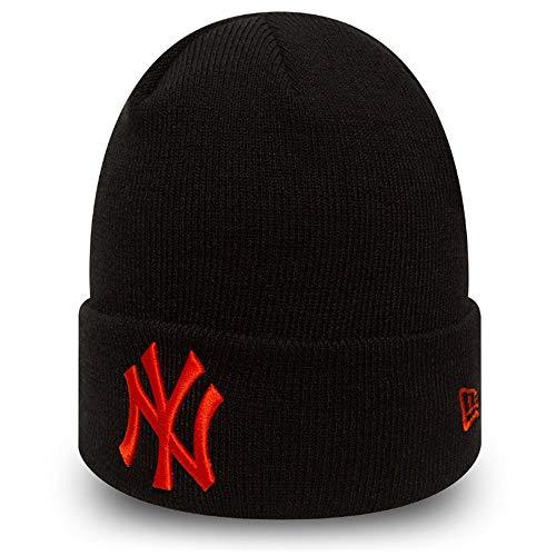 New Era League Essential Cuffed Knit NY Cap, schwarz - orange, 1 SIZE