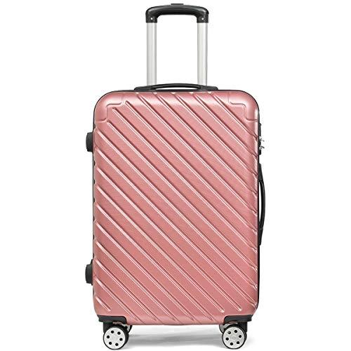 Flieks Hartschale Trolley Koffer Reisekoffer Zwillingsrollen Reisekoffer mit Zahlenschloss Handgepäck mit 4 Doppel-Rollen, XL-L-M (Pink, Mittelgroßer Koffer/L)
