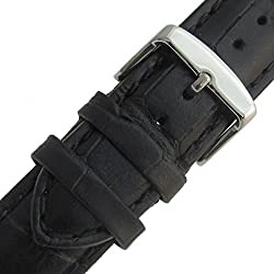 Super-Long XXL Padded Croc Grain Genuine Leather Watch Strap band 24mm Black Chrome (Silver Colour) Buckle