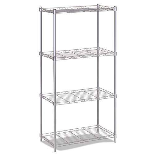 LWKBE 4-Tier Wire Storage Rack Organizer Regaleinheit, Metall Free Stand Regal für Waschküche, Wohnzimmer, Küche, Garage, Bad, Silbergrau -