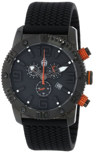 Burgmeister Men's Quartz Watch with Black Dial Chronograph Display and Black Silicone Strap BM521-622B