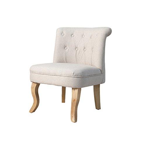 Riess Ambiente Design Sessel Boutique Hochwertiger Leinenstoff Beige mit Nackenrolle Barock Stuhl