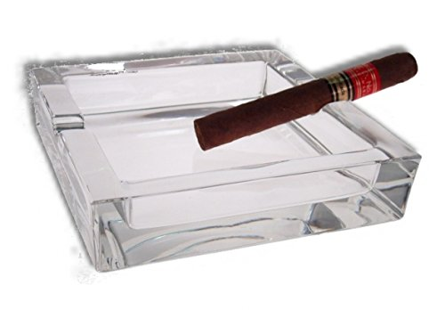 Lifestyle-Ambiente Glas Zigarren Aschenbecher 15x15cm inkl Tastingbogen neues Modell mit 4 Ablagen