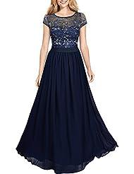 Miusol® Damen Kleid Lace Blume Spitze Stickerei Rundhals Chiffonkleid Maxi Langes Abendkleid Dunkelblau Gr.S-XXL