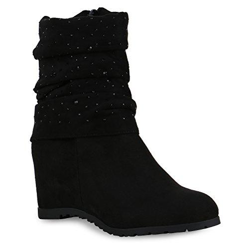 Damen Stiefeletten Keilabsatz Profilsohle Boots Strass Schuhe Schwarz
