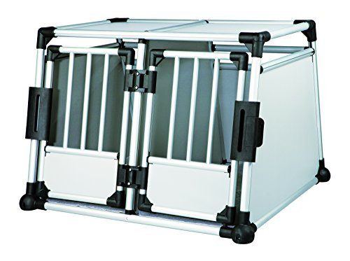 Trixie 39345 Transportbox, doppelt, Aluminium, M–L: 93 × 64 × 88 cm