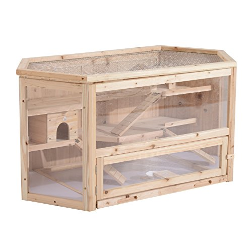 Pawhut gabbia per criceti roditori piccoli animali in legno massello 3 ripiani collegati con rampe 115x60x58cm