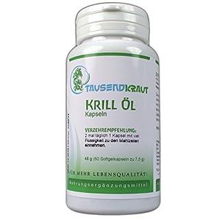 Krill Öl (60 Kapseln) Nahrungsergänzungsmittel [Original von NKO® - enthält Astaxanthin] Tausendkraut