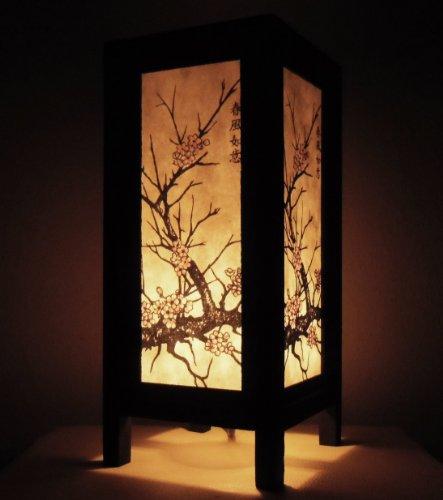Lampe décorative pour chambre Motif de fleurs de cerisier oriental (bois et papier)