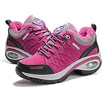 Cojín de Aire para Mujer Zapatos para Correr Peso Ligero Transpirable Suela Gruesa Algodón Acolchado Calientes Calzado Invierno otoño Calzado Deportivo - Rosa roja 40